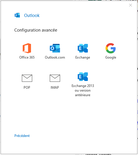 Choix type de compte Outlook 365
