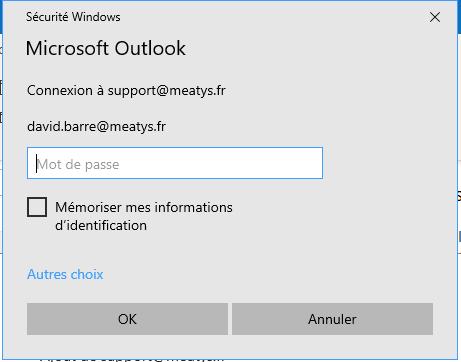 Fenetre d'identification Outlook 365
