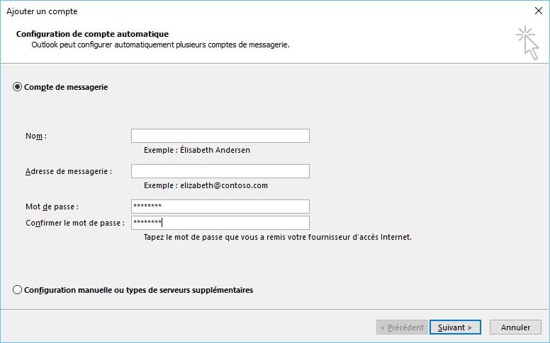 Configuration automatique Outlook 2016