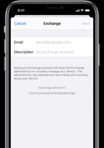 Confiuration iphone Exchange