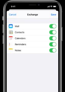 Configuration Iphone Exchange synchronisation